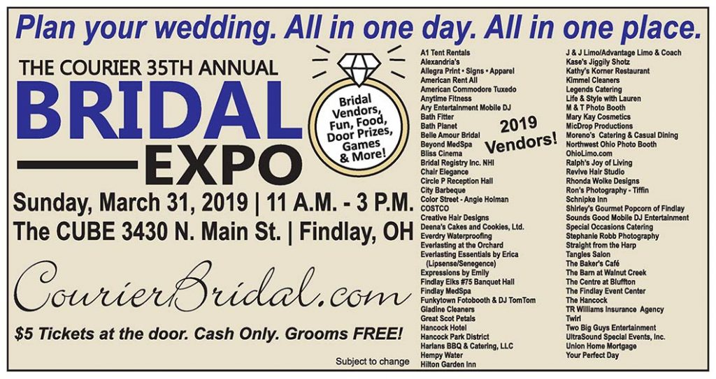 The Courier Bridal Expo 2019 vendors and sponsors.